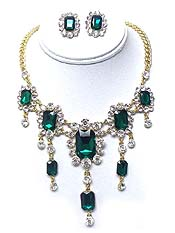 LUXURY CLASS VICTORIAN STYLE AUSTRIAN CRYSTAL DROP PARTY NECKLACE EARRING SET