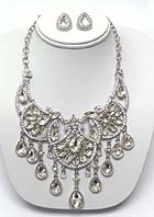 LUXURY CLASS VICTORIAN STYLE AUSTRIAN CRYSTAL DECO DROP STATEMENT NECKLACE EARRING SET