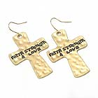 RELIGIOUS INSPIRATION HAMMERED METAL CROSS EARRING