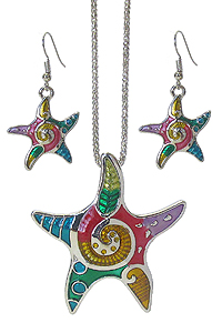EPOXY STARFISH PENDANT NECKLACE SET