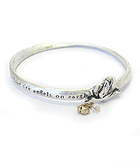 INSPIRATION MESSAGE TWIST BANGLE BRACELET - MOTHERS ARE ANGELS ON EARTH
