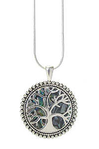 ABALONE TREE OF LIFE PENDANT NECKLACE