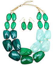 CHUNKY MULTI COLOR FACET RESIN STONE DOUBLE CHAIN NECKLACE EARING SET
