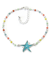 SEALIFE PUFFY STONE AND BEAD ANKLET - STARFISH