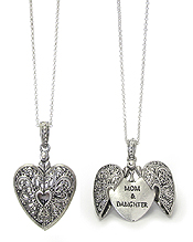 RELIGIOUS INSPIRATION MESSAGE LOCKET PENDANT NECKLACE - MOM & DAUGHTER