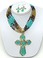 TURQUOISE CROSS PENDANT AND MULTI LAYER SEED BEAD NECKLACE EARRING SET