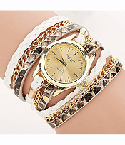 METAL CHAIN AND LONG SNAKE SKIN LEATHER WRIST WRAP WATCH