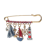 MULTI ACRYLIC AND METAL CHARM DROP BROOCH PIN - NAUTICAL THEME