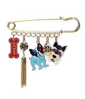 MULTI ACRYLIC AND METAL CHARM DROP BROOCH PIN - DOGS