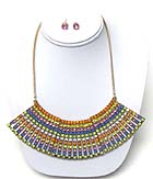 MULTI CRYSTAL DECO TRIBAL NECKLACE EARRING SET