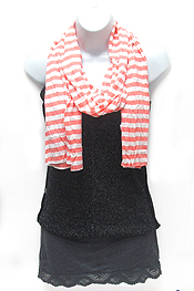 COTTON AND POLYESTER BLEND STRIPE PRINT  SCARF