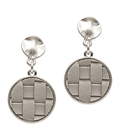 WOVEN LEATHERETTE DISC DROP EARRING