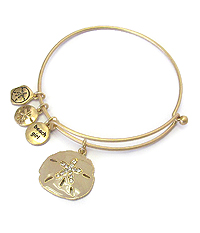 SEALIFE THEME EPOXY CHARM WIRE BANGLE BRACELET - SAND DOLLAR