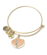 SEALIFE THEME EPOXY CHARM WIRE BANGLE BRACELET - SHELL