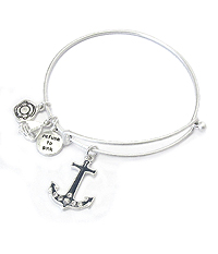 SEALIFE THEME EPOXY CHARM WIRE BANGLE BRACELET - ANCHOR