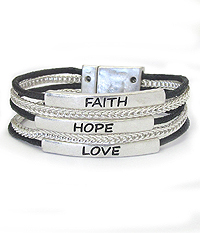 RELIGIOUS INSPIRATION MESSAGE MULTI CHAIN MAGNETIC BRACELET - FAITH HOPE LOVE
