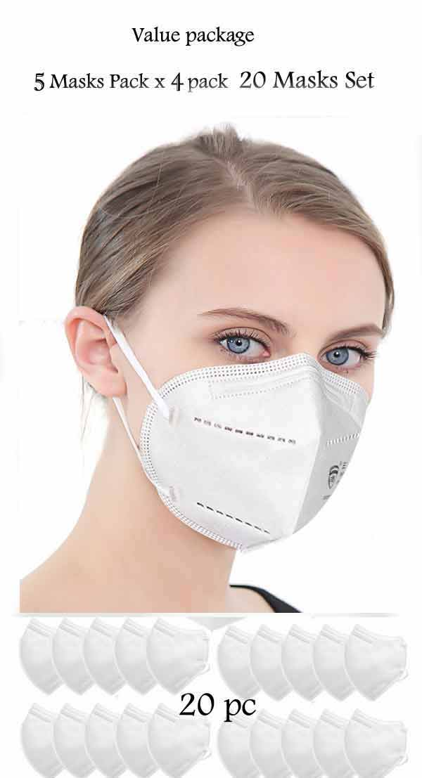 KN95 PM2.5 FACE MASK 5 LAYER FILTER ANTI-VIRUS (20PC  VALUE PACK   5PC  X 4 SET IN BOX)