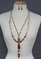 NATURAL STONE AND MIXED SHELL AND WOOD BEADS LONG  NECKLACE SET