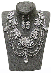 LUXURY AUSTRIAN CRYSTAL AND RHINESTONE MIX MULTI LAYER PARTY NECKLACE SET