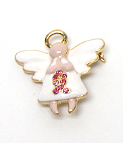PINK RIBBON PRAYING ANGEL PIN