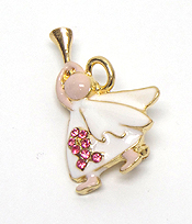 ANGEL WITH TRUMPET PINK RIBBON PIN