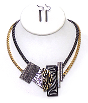 TWO LAYER SQUARE CHAIN WITH MULTI METAL SHAPES NECKLACE SET