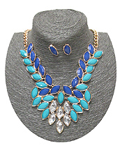 SPRING STATEMENT MULTI STONES LINKED DROP NECKLACE SET