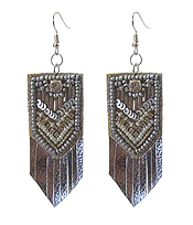 SEED BEAD LEATHERETTE EARRING