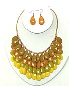 MULTI FACET ACRYLIC TEARDROP STATEMENT NECKLACE EARRING SET