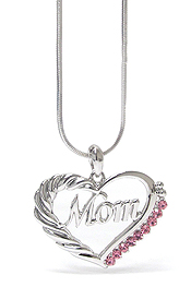 WHITEGOLD PLATING MOTHERS DAY CRYSTAL MOM HEART PENDANT NECKLACE