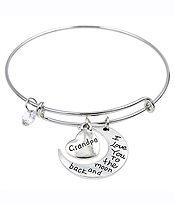 ALEX AND ANI STYLE MOTHERS DAY LOVE BRACELET - I LOVE YOU TO THE MOON AND BACK GRANDPA