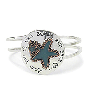 SEALIFE THEME RUSTIC METAL BANGLE BRACELET - LOVE YOU TO THE BEACH AND BACK