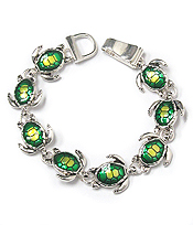 EPOXY MULTI METAL SEA TURTLE THEME LINK MAGNETIC BRACELET