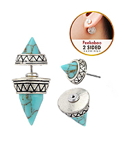AZTEC PATTERN AND SPIKE DOUBLE SIDED FRONT AND BACK EARRING
