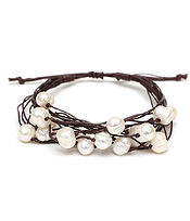 GENUINE FRESH WATER PEARL MIX AND MULTI CORD PULL TIE BRACELET