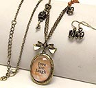 METAL TEXTURED CROWN KEY AND CROWN DANGLE DROP OVAL CLEAR ACRYL LOVE LIVE LAUGH THEME NECKLACE EARRING SET