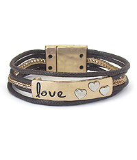 INSPIRATION MESSAGE WAX CORD CHAIN MAGNETIC BRACELET - LOVE