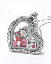 MOTHERS DAY THEME FLOATING CHARM HEART LOCKET PENDANT NECKLACE -I LOVE MOM - LOCKET OPENS AND CHARMS INCLUDED
