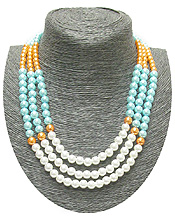 MIXED COLOR LAYERED PEARL NECKLACE