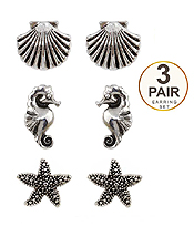 STARFISH SHELL AND SEAHORSE 3 PAIR EARRING SET