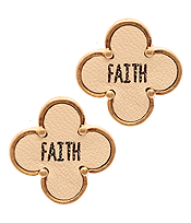 RELIGIOUS INSPIRATION LEATHER QUATREFOIL STUD EARRING