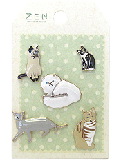 5 PIECE BROOCH SET - CATS