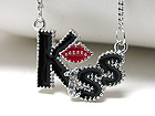 WHITEGOLD PLATING CRYSTAL AND EPOXY KISS CHAIN TIED NECKLACE