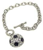 PREMIER ELECTRO PLATING CRYSTAL AND EPOXY SOCCER BALL CHARM TOGGLE BRACELET