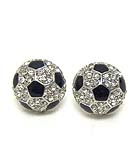 PREMIER ELECTRO PLATING CRYSTAL AND EPOXY SOCCER BALL STUD EARRING