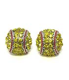 PREMIER ELECTRO PLATING CRYSTAL SOFTBALL STUD EARRING