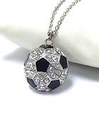PREMIER ELECTRO PLATING CRYSTAL AND EPOXY SOCCER BALL NECKLACE