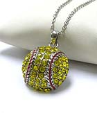 PREMIER ELECTRO PLATING CRYSTAL SOFTBALL PENDANT NECKLACE