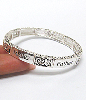 MOTHER FATHER LOVE METAL TEXTURED STRETCH BRACELET