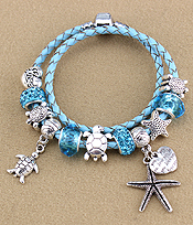 PANDORA STYLE INTERCHNAGEABLE EUROPEAN CHARM WRAP BRACELET - SEALIFE THEME
